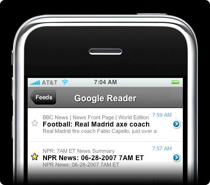 Google Reader op iPhone