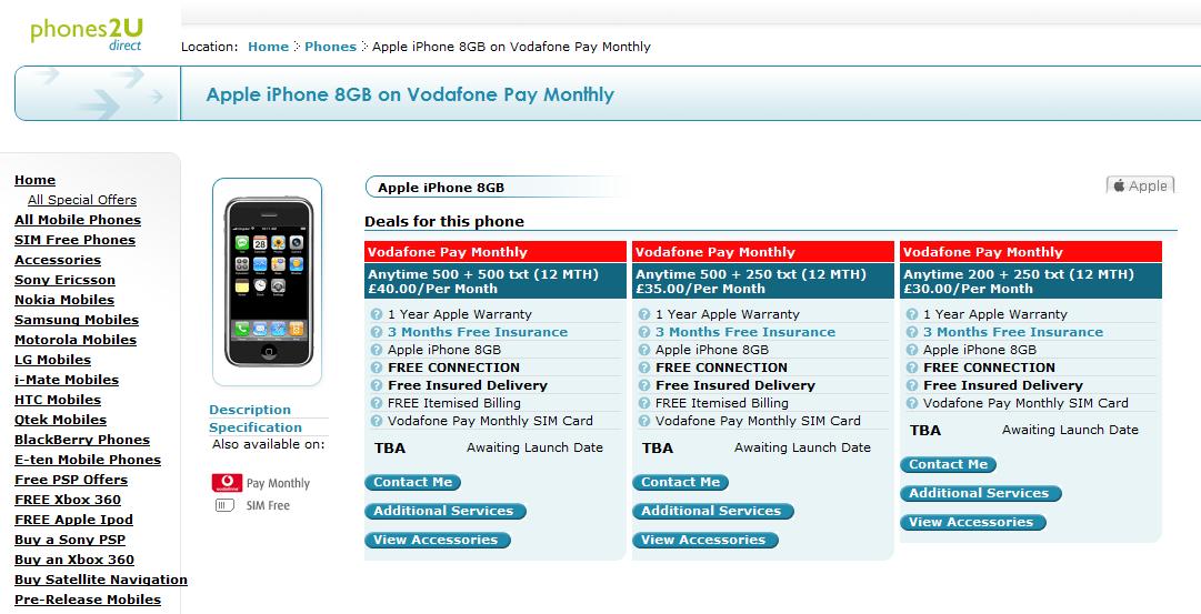 Iphones2U biedt de Vodafone iPhone al aan