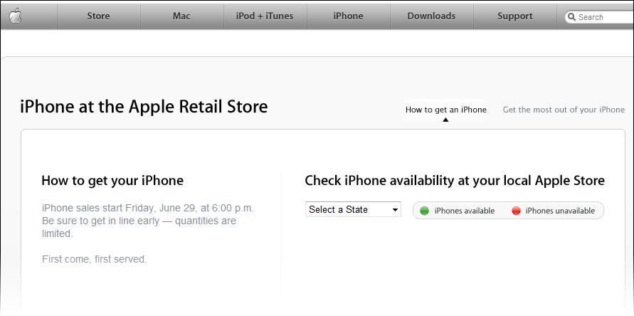 Apple iPhone beschikbaarheid Apple Store