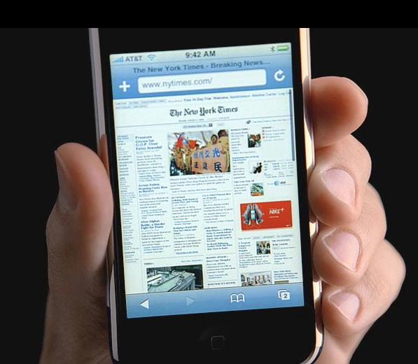 De Safari-webbrowser op de Apple iPhone toont een echte internetervaring