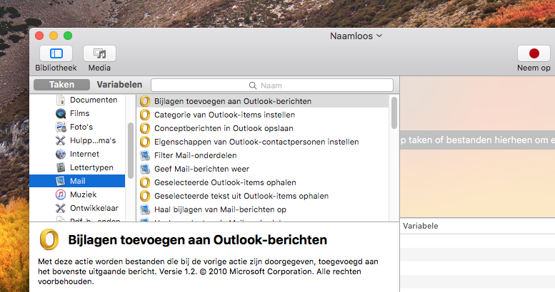 Automator met Outlook