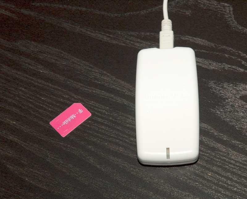 De T-Mobile prepaid-simkaart en de Infinity USB simkaart reader/writer