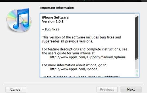 iPhone Software Update 1.01