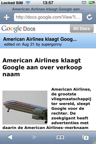Apple iPhone Google Docs
