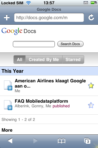 Google Docs op de Apple iPhone