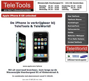 TeleWorld verkoopt iPhone