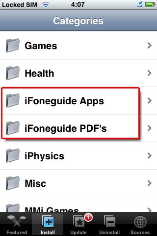 iFoneguide Repository in Installer.app op iPhone