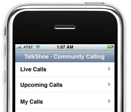Talkshoe aangepast voor de iPhone
