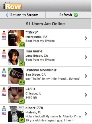 iRovr, sociaal netwerk op de iphone