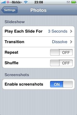 Screenshot enable