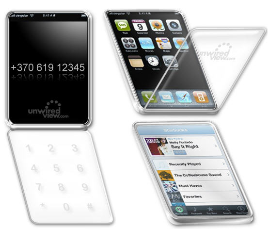 Apple iPhone transparant, clamshell patent