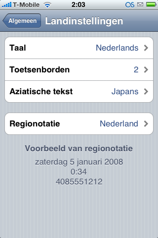 iPhone Nederlandse taalinstellingen