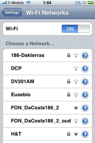 iPhone Wi-Fi netwerken