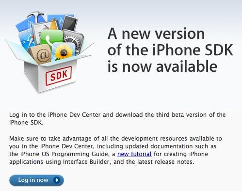 Nieuwe iPhone SDK beta 3 uitgebracht