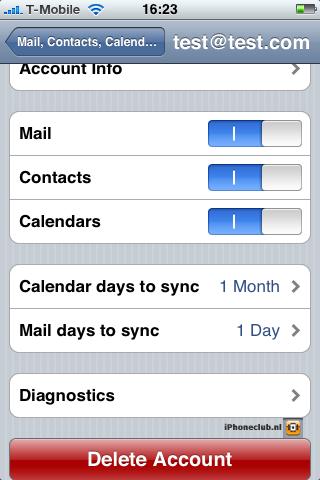 iPhone 2.0 - Microsoft Exchange - instellingen