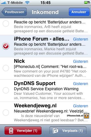 iPhone 2.0 - Meerdere e-mailberichten selecteren