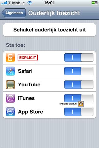 iPhone 2.0 - Ouderlijk toezicht
