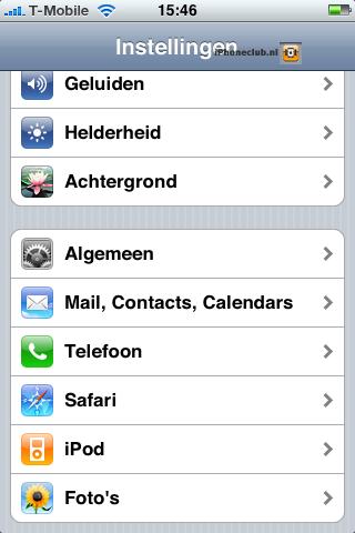 iPhone 2.0 - Algemene instellingen