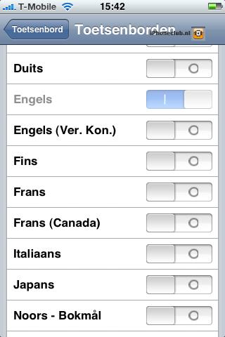 iPhone 2.0 - Toetsenbordinstellingen