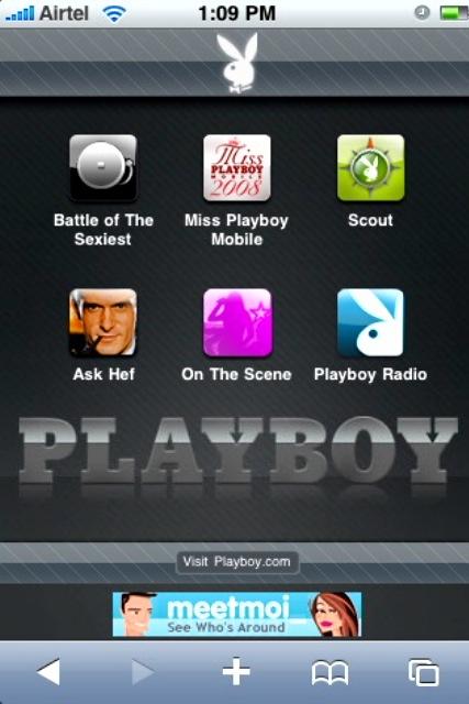 Playboy Website aangepast voor iPhone