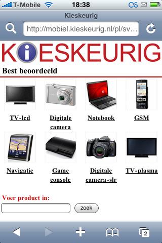 Kieskeurig - mobiele website