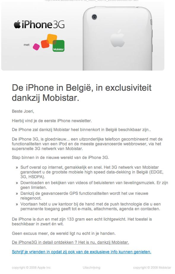 iPhone 3G: Mobistar nieuwsbrief