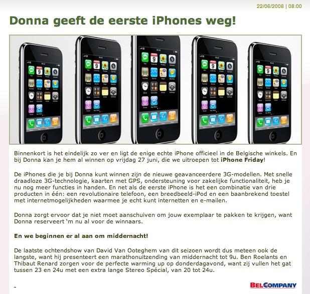 Radio Donna iPhone 3G weggeefactie
