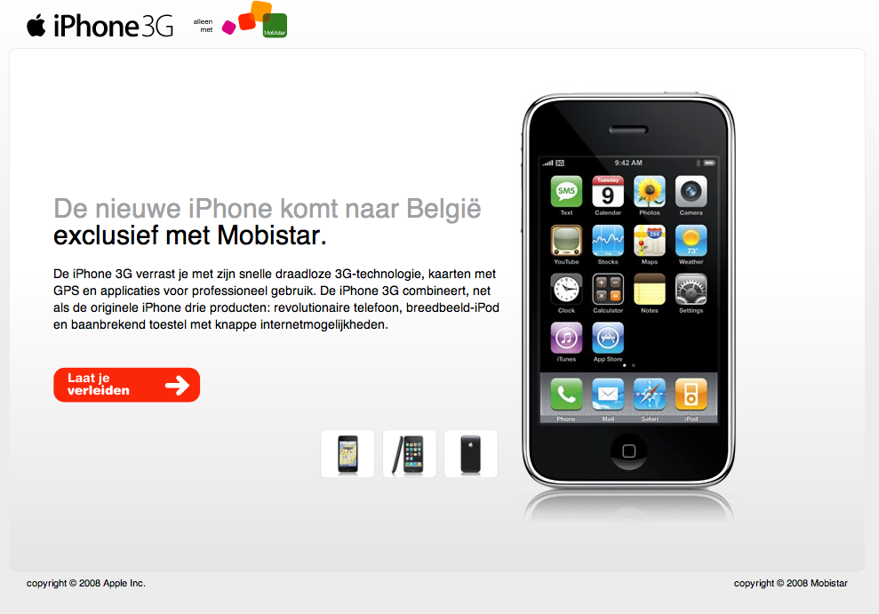 3G iPhone België Mobistar - intropagina