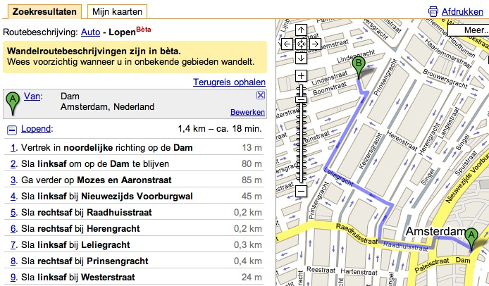 Google Maps wandelroute