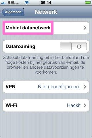 Mobiel datanetwerk instellen