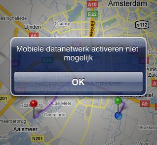 Mobiele datanetwerk activeren niet mogelijk.