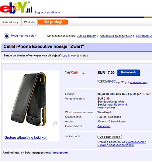 Cellet hoesje van eBay