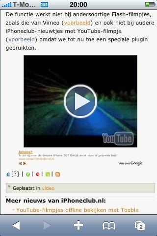 YouTube in Safari