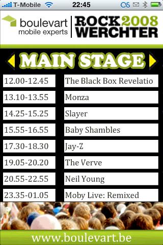 Het programma van de Main Stage.
