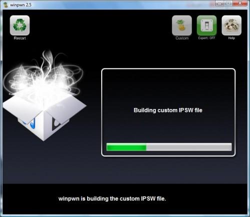 Winpwn 2.5: aanmaken van het IPSW-bestand.