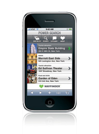 wayfinder powersearch on apple iphone 3g