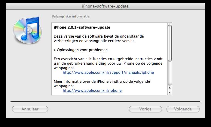 iPhone firmware 2.0.1 update