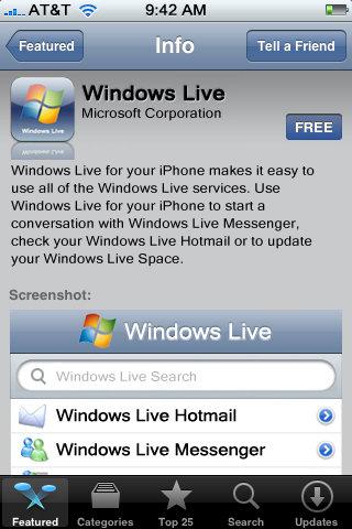 Windows Live in App Store