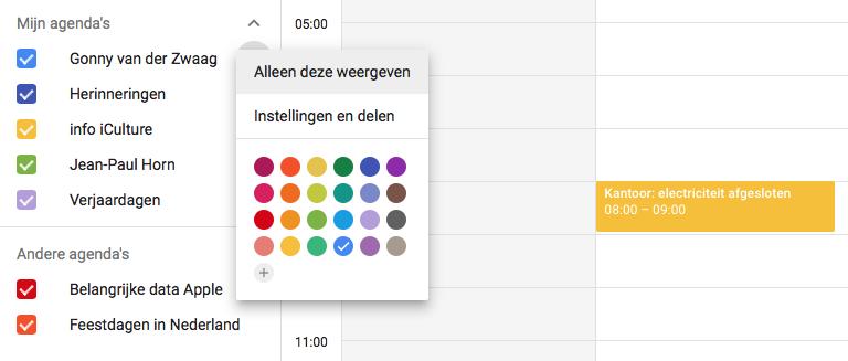 Google Agenda-kleuren