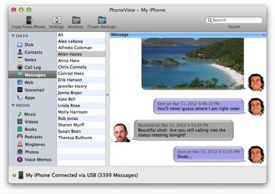 sms berichten phoneview