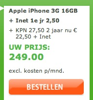 16GB iPhone 3G 249 euro