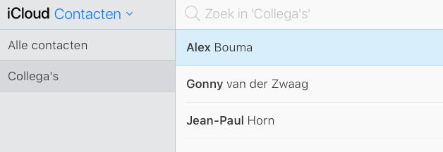 Groep aanmaken in iCloud-contacten.