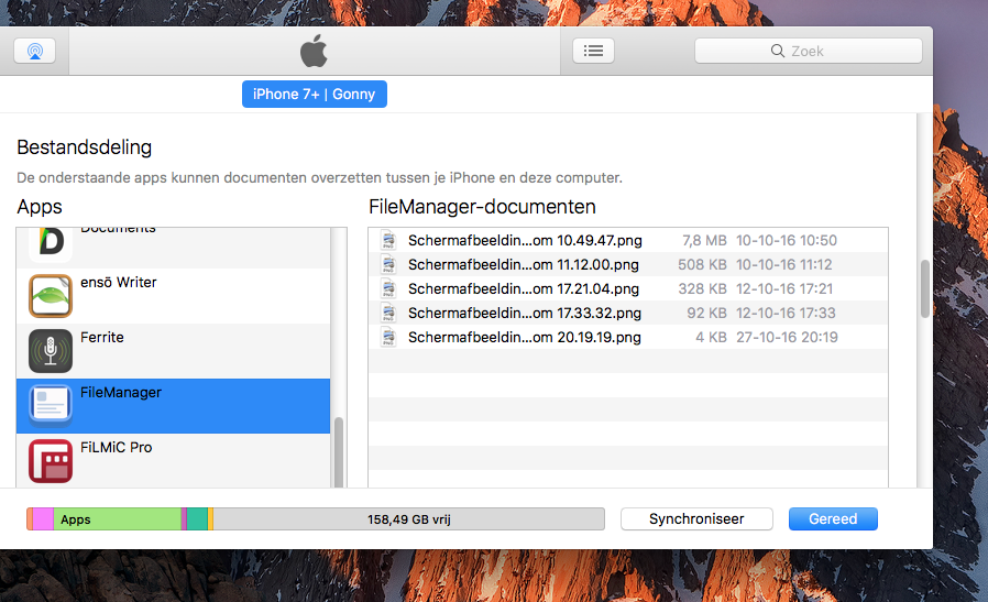 Bestandsdeling met FileManager-app
