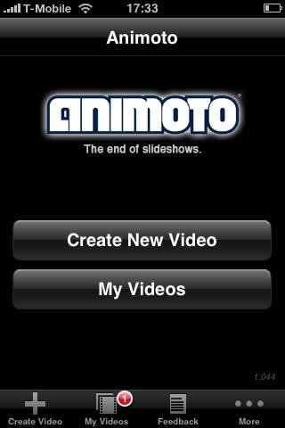 Animoto's beginscherm