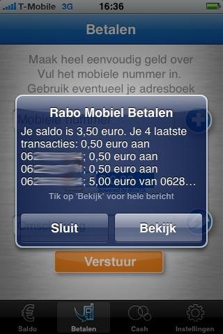 SMS-bericht met saldo.