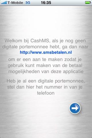 Welkomscherm van SMS Betalen.