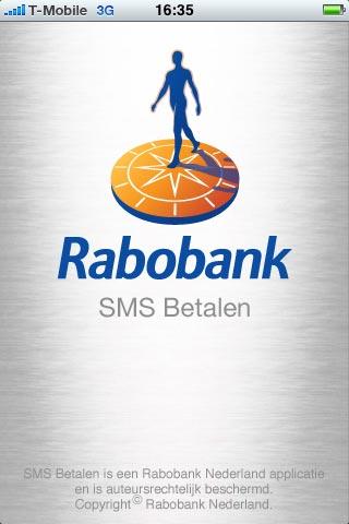 Startscherm Rabobank SMS Betalen