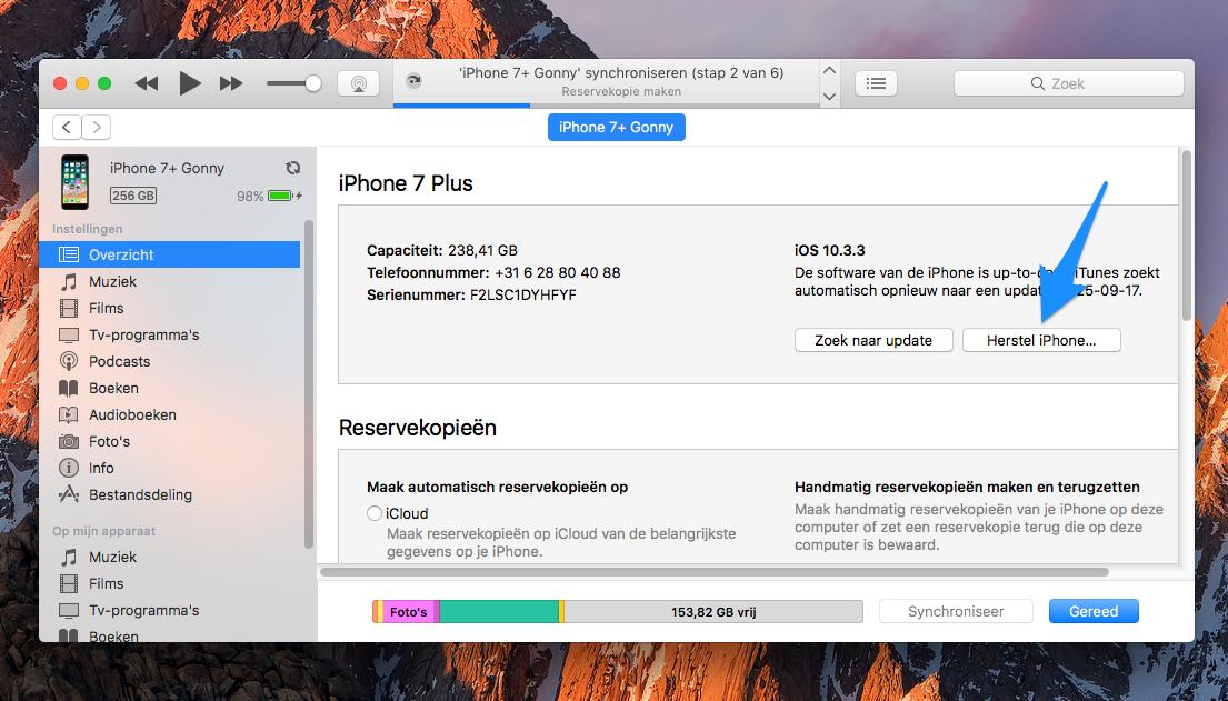 iPhone herstellen in iTunes