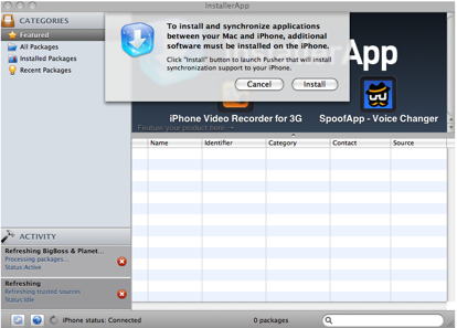 De applicatie spreekt nogal vaag over 'installation support', maar bedoelt eigenlijk dat Installer geïnstalleerd moet worden op de iPhone.