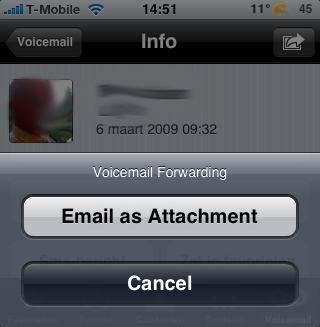 De extra optie van VoiceMailForwarder.